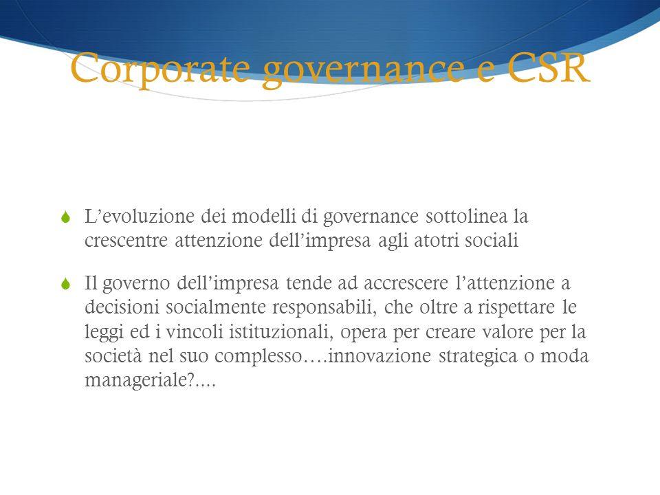 Corporate governance e CSR Levoluzione dei modelli di governance sottolinea la crescentre attenzione dellimpresa agli atotri sociali Il governo dellim