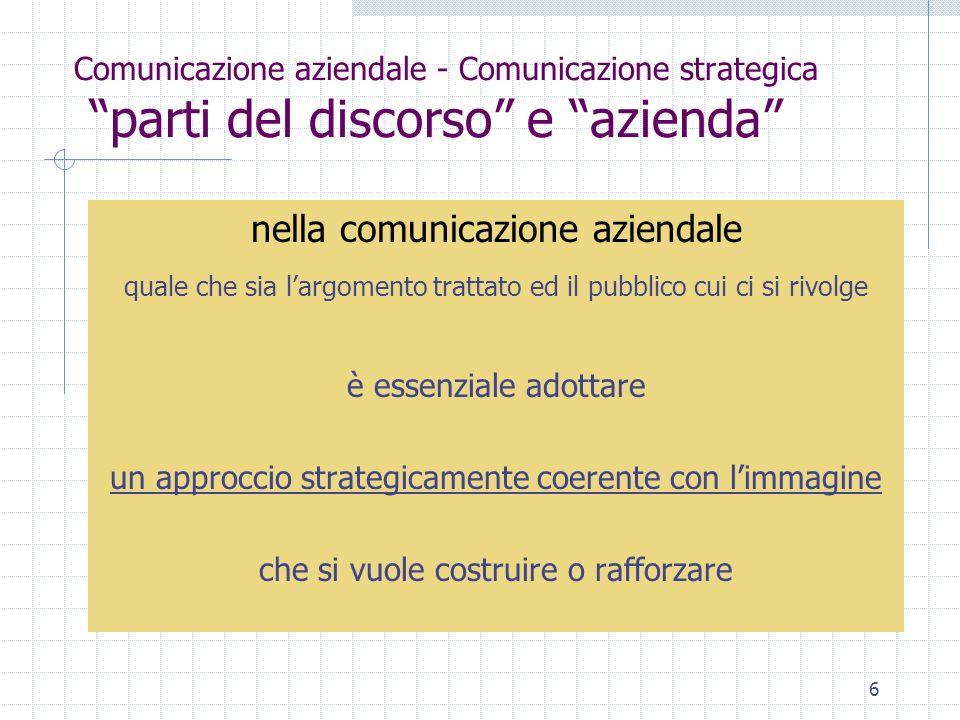 6 Comunicazione aziendale - Comunicazione strategica parti del discorso e azienda nella comunicazione aziendale quale che sia largomento trattato ed il pubblico cui ci si rivolge è essenziale adottare un approccio strategicamente coerente con limmagine che si vuole costruire o rafforzare