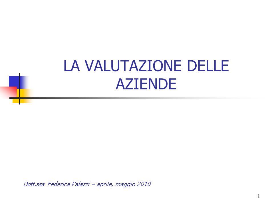 1 LA VALUTAZIONE DELLE AZIENDE Dott.ssa Federica Palazzi – aprile, maggio 2010