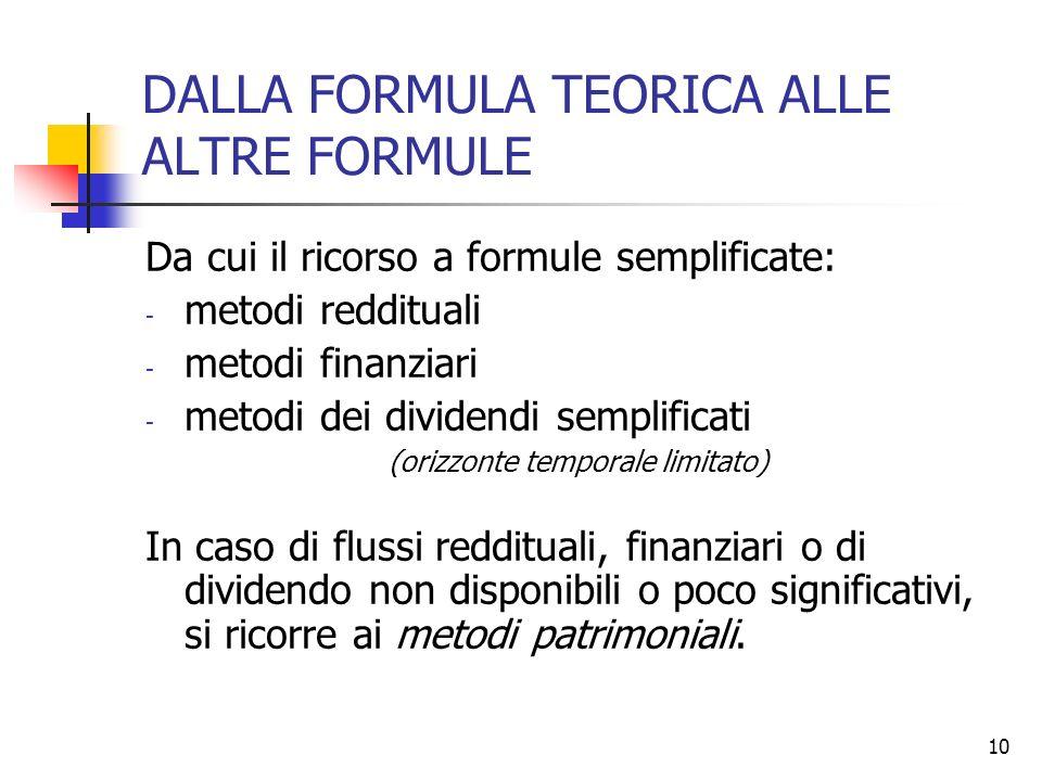10 DALLA FORMULA TEORICA ALLE ALTRE FORMULE Da cui il ricorso a formule semplificate: - metodi reddituali - metodi finanziari - metodi dei dividendi s
