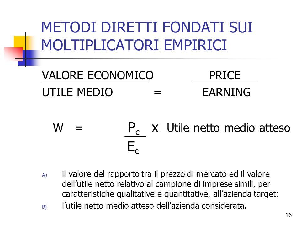 16 METODI DIRETTI FONDATI SUI MOLTIPLICATORI EMPIRICI VALORE ECONOMICO PRICE UTILE MEDIO = EARNING W = P c x Utile netto medio atteso E c A) il valore