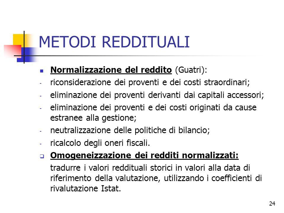 24 METODI REDDITUALI Normalizzazione del reddito (Guatri): - riconsiderazione dei proventi e dei costi straordinari; - eliminazione dei proventi deriv
