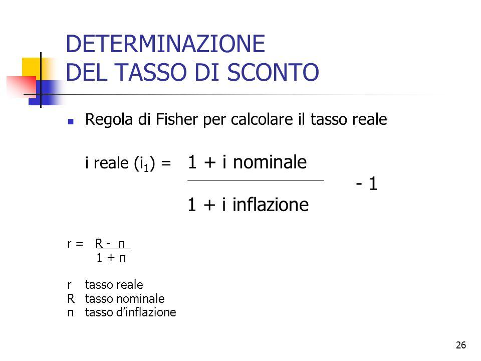 26 DETERMINAZIONE DEL TASSO DI SCONTO Regola di Fisher per calcolare il tasso reale i reale (i 1 ) = 1 + i nominale - 1 1 + i inflazione r = R - π 1 +