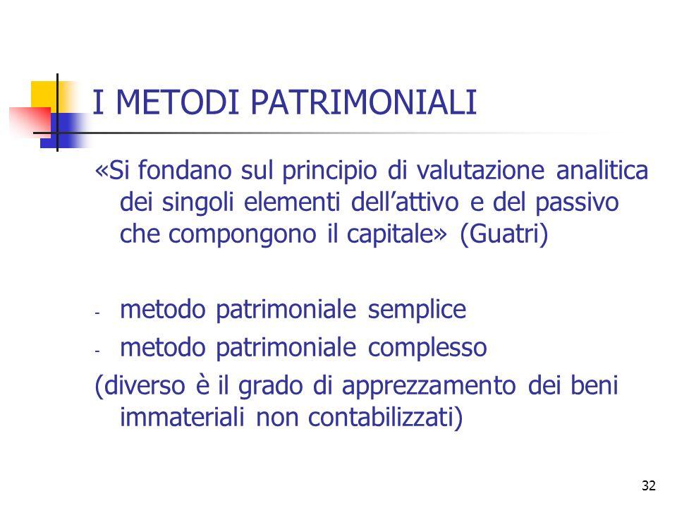 32 I METODI PATRIMONIALI «Si fondano sul principio di valutazione analitica dei singoli elementi dellattivo e del passivo che compongono il capitale»