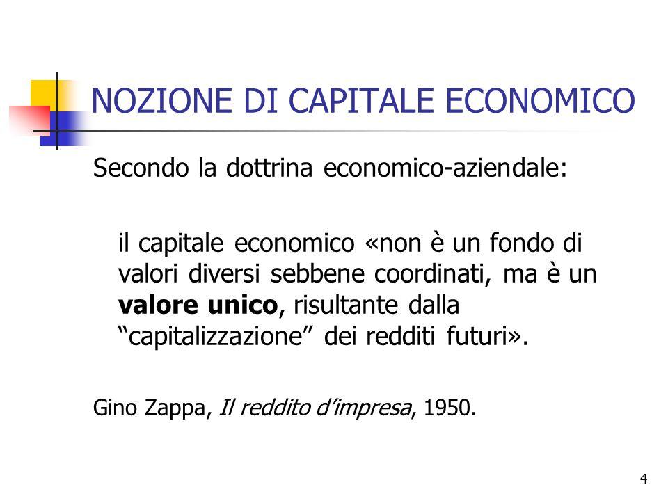 4 NOZIONE DI CAPITALE ECONOMICO Secondo la dottrina economico-aziendale: il capitale economico «non è un fondo di valori diversi sebbene coordinati, m