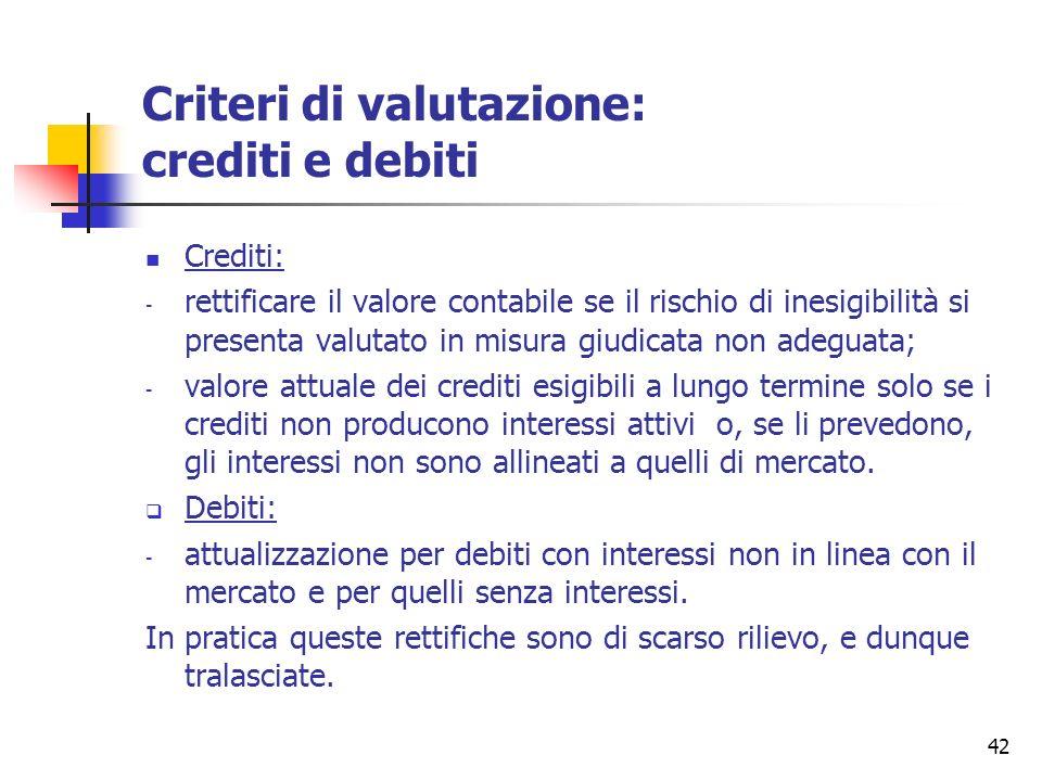 42 Criteri di valutazione: crediti e debiti Crediti: - rettificare il valore contabile se il rischio di inesigibilità si presenta valutato in misura g