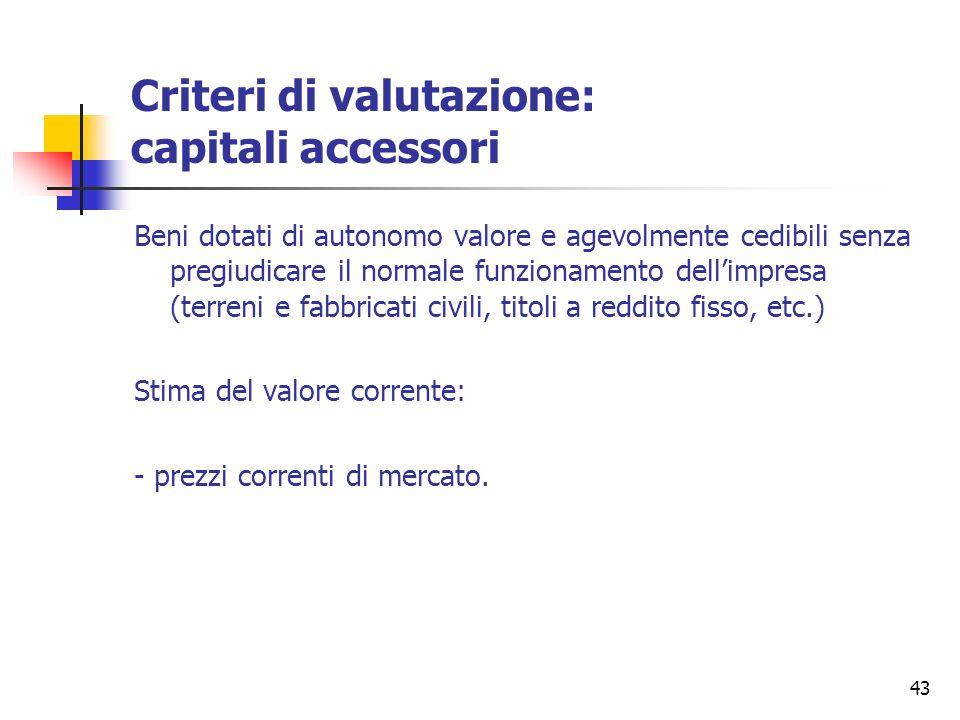 43 Criteri di valutazione: capitali accessori Beni dotati di autonomo valore e agevolmente cedibili senza pregiudicare il normale funzionamento dellim