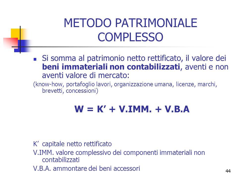 44 METODO PATRIMONIALE COMPLESSO Si somma al patrimonio netto rettificato, il valore dei beni immateriali non contabilizzati, aventi e non aventi valo