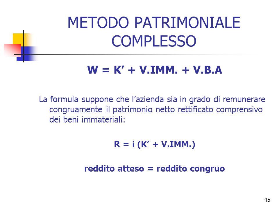 45 METODO PATRIMONIALE COMPLESSO W = K + V.IMM. + V.B.A La formula suppone che lazienda sia in grado di remunerare congruamente il patrimonio netto re
