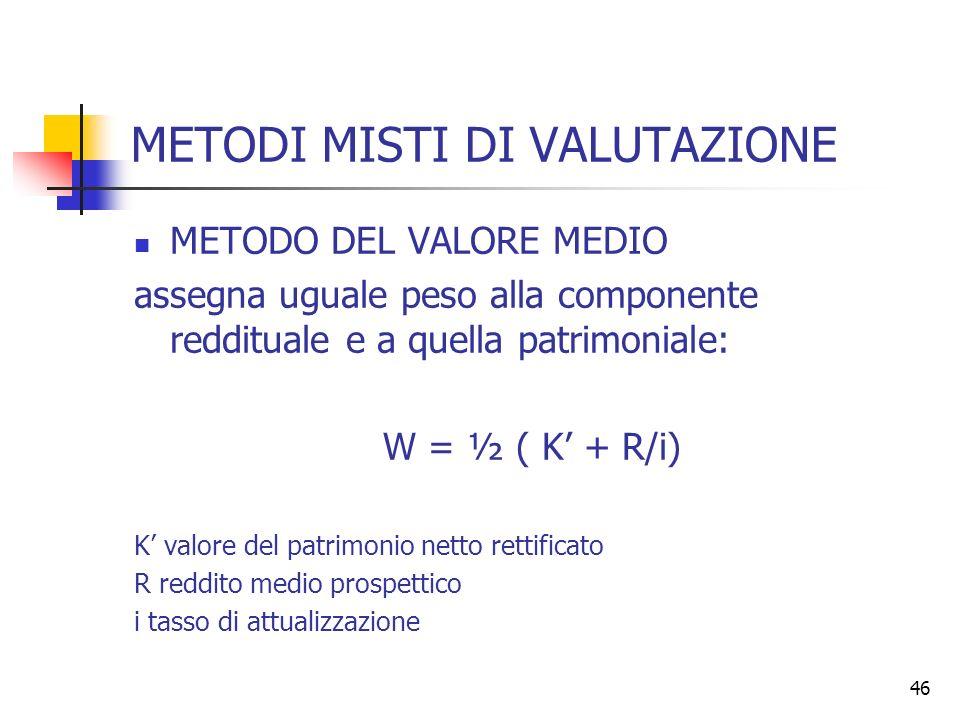 46 METODI MISTI DI VALUTAZIONE METODO DEL VALORE MEDIO assegna uguale peso alla componente reddituale e a quella patrimoniale: W = ½ ( K + R/i) K valo