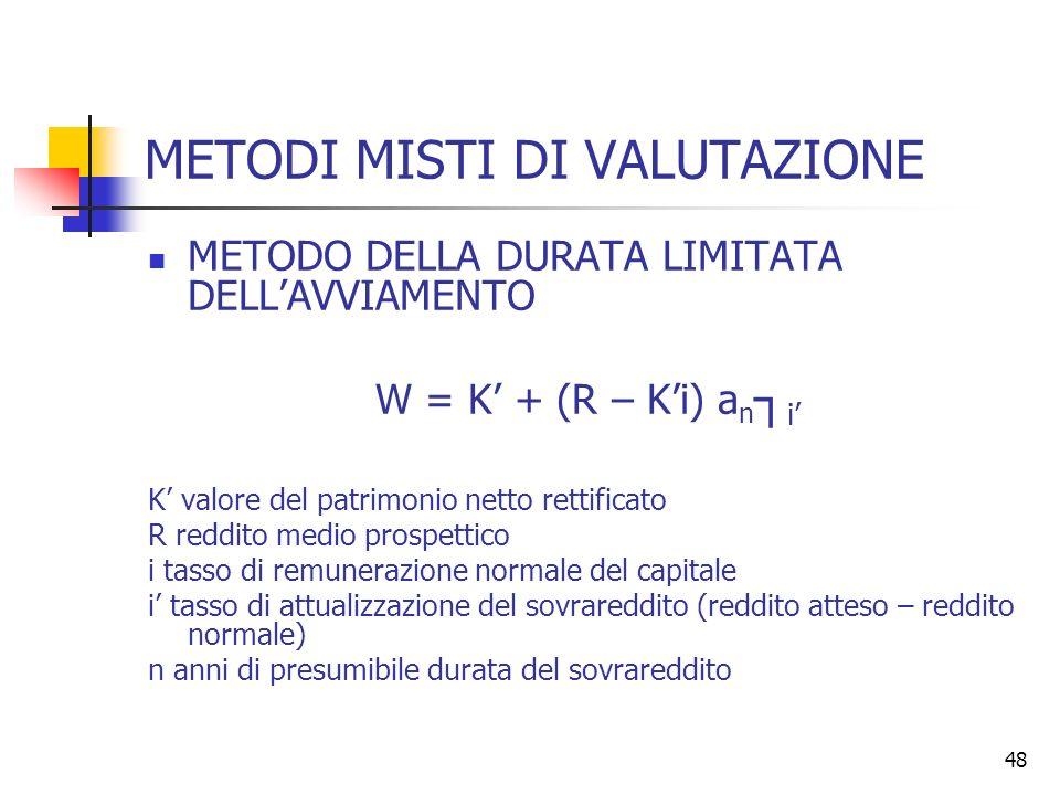 48 METODI MISTI DI VALUTAZIONE METODO DELLA DURATA LIMITATA DELLAVVIAMENTO W = K + (R – Ki) a n i K valore del patrimonio netto rettificato R reddito