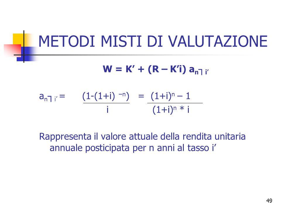 49 METODI MISTI DI VALUTAZIONE W = K + (R – Ki) a n i a n i = (1-(1+i) –n ) = (1+i) n – 1 i (1+i) n * i Rappresenta il valore attuale della rendita un