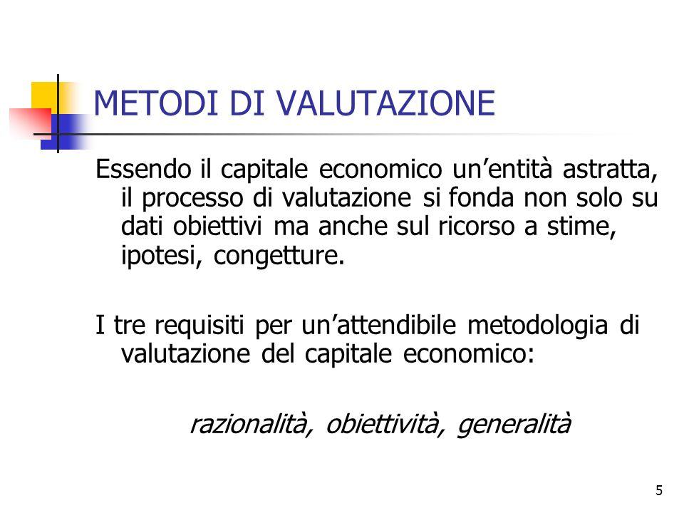 5 METODI DI VALUTAZIONE Essendo il capitale economico unentità astratta, il processo di valutazione si fonda non solo su dati obiettivi ma anche sul r