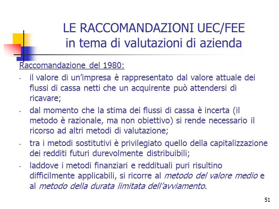51 LE RACCOMANDAZIONI UEC/FEE in tema di valutazioni di azienda Raccomandazione del 1980: - il valore di unimpresa è rappresentato dal valore attuale