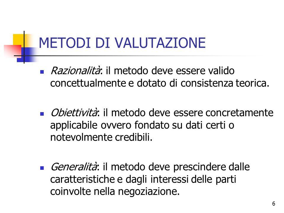 6 METODI DI VALUTAZIONE Razionalità: il metodo deve essere valido concettualmente e dotato di consistenza teorica. Obiettività: il metodo deve essere