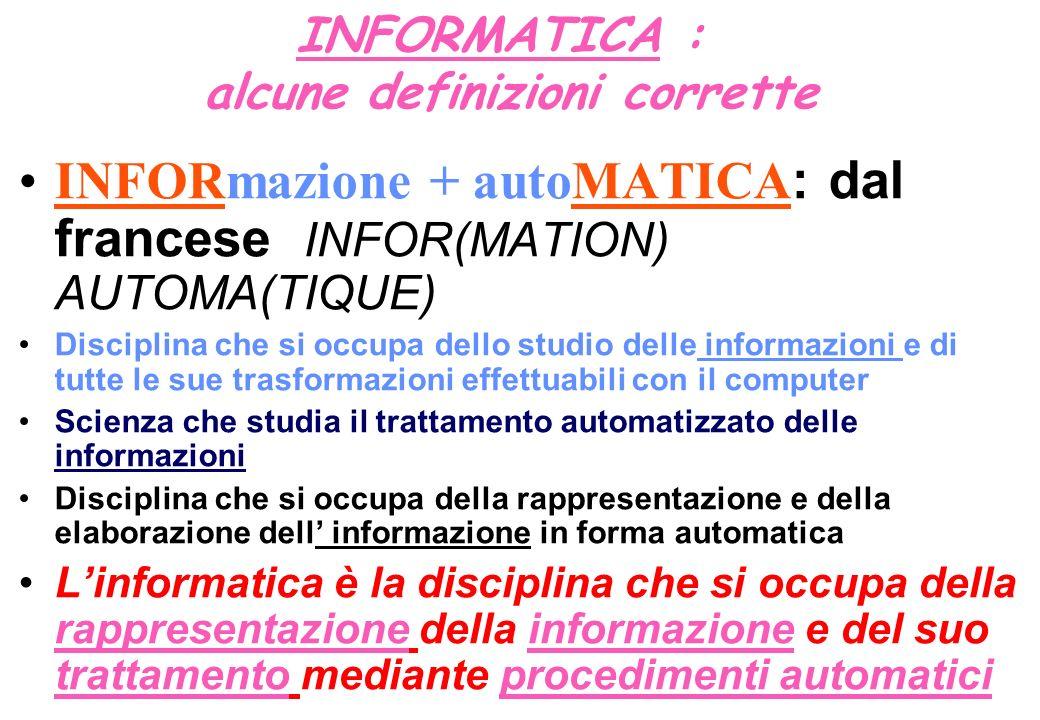 INFORMATICA : alcune definizioni corrette INFORmazione + autoMATICA : dal francese INFOR(MATION) AUTOMA(TIQUE) Disciplina che si occupa dello studio d