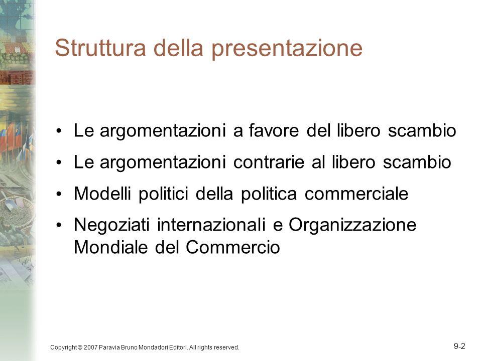 Copyright © 2007 Paravia Bruno Mondadori Editori. All rights reserved. 9-2 Struttura della presentazione Le argomentazioni a favore del libero scambio