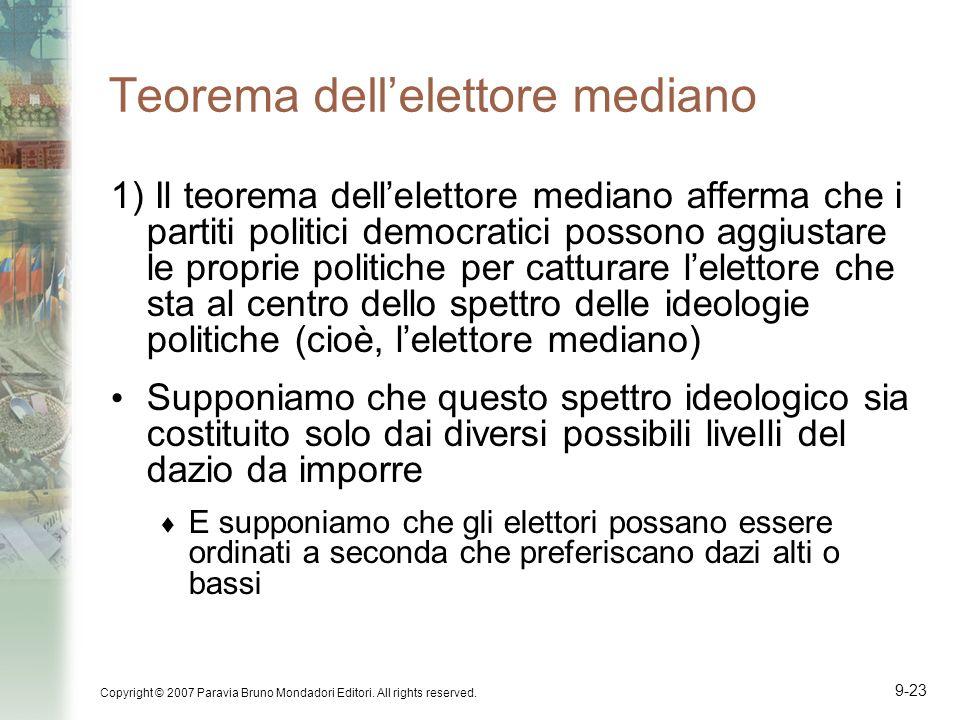 Copyright © 2007 Paravia Bruno Mondadori Editori. All rights reserved. 9-23 Teorema dellelettore mediano 1) Il teorema dellelettore mediano afferma ch