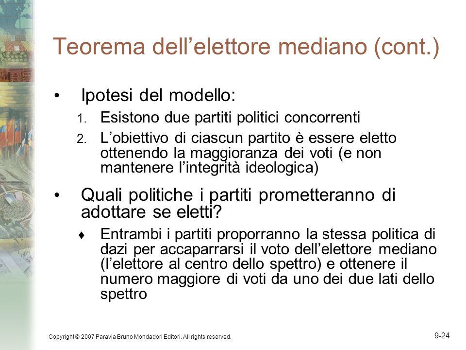 Copyright © 2007 Paravia Bruno Mondadori Editori. All rights reserved. 9-24 Teorema dellelettore mediano (cont.) Ipotesi del modello: 1. Esistono due