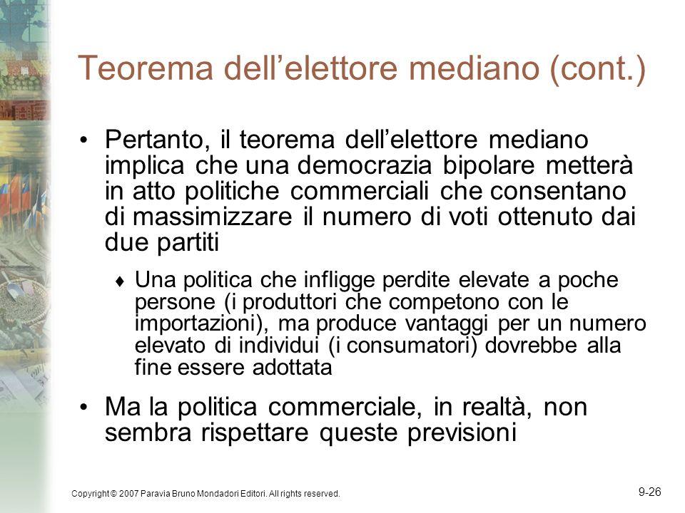 Copyright © 2007 Paravia Bruno Mondadori Editori. All rights reserved. 9-26 Teorema dellelettore mediano (cont.) Pertanto, il teorema dellelettore med