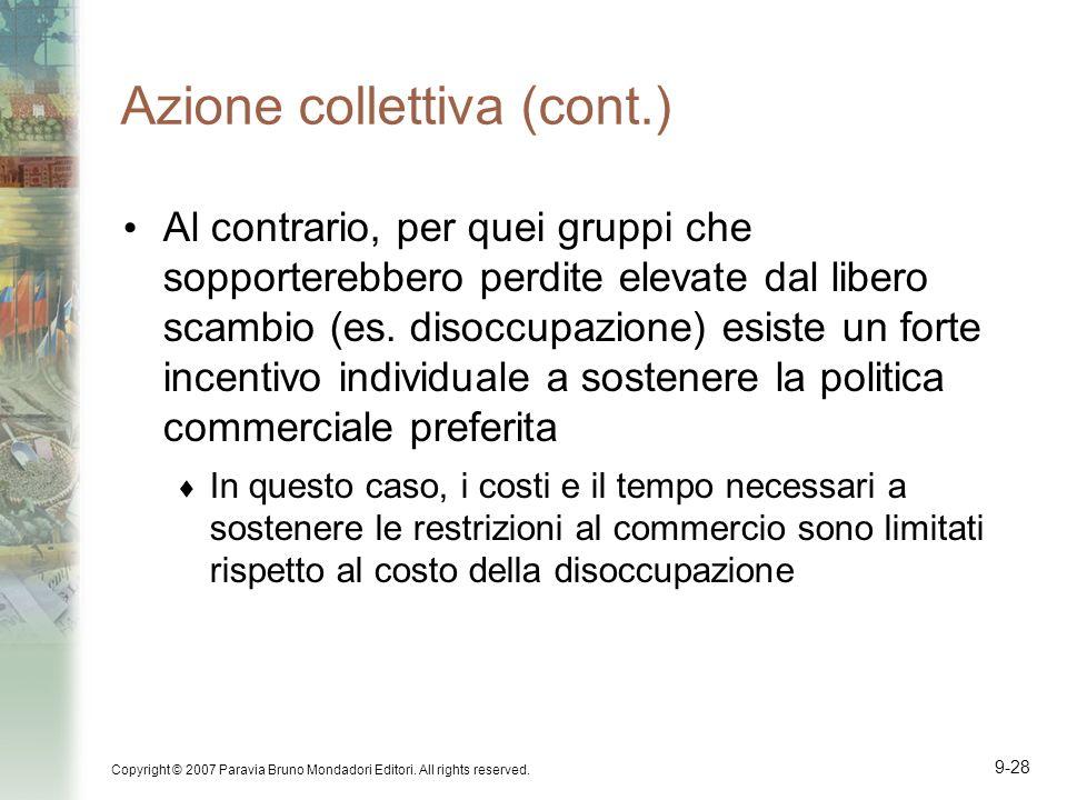 Copyright © 2007 Paravia Bruno Mondadori Editori. All rights reserved. 9-28 Azione collettiva (cont.) Al contrario, per quei gruppi che sopporterebber