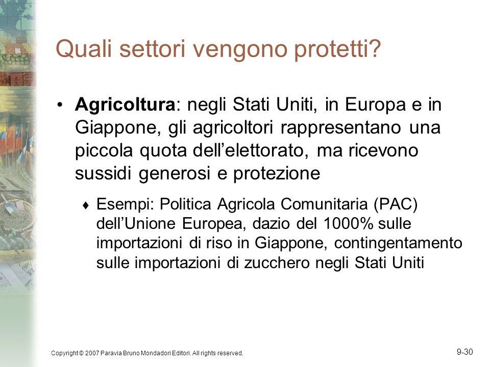 Copyright © 2007 Paravia Bruno Mondadori Editori. All rights reserved. 9-30 Quali settori vengono protetti? Agricoltura: negli Stati Uniti, in Europa