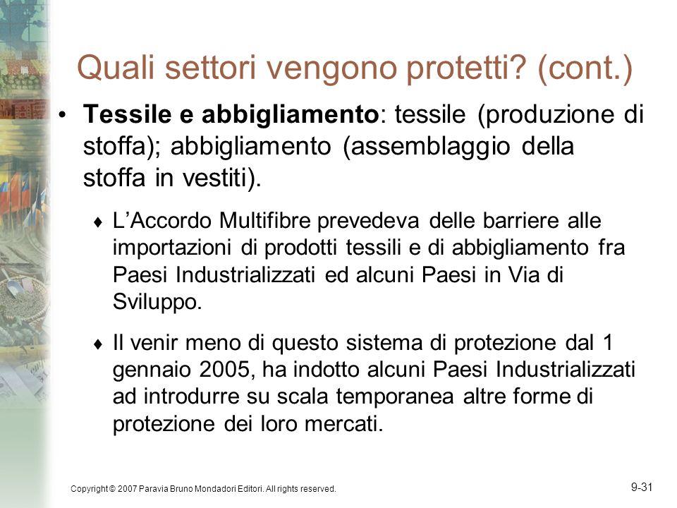 Copyright © 2007 Paravia Bruno Mondadori Editori. All rights reserved. 9-31 Quali settori vengono protetti? (cont.) Tessile e abbigliamento: tessile (