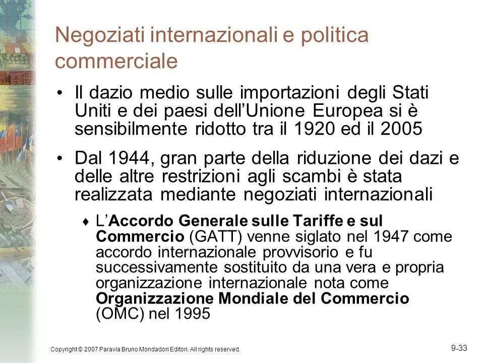 Copyright © 2007 Paravia Bruno Mondadori Editori. All rights reserved. 9-33 Negoziati internazionali e politica commerciale Il dazio medio sulle impor