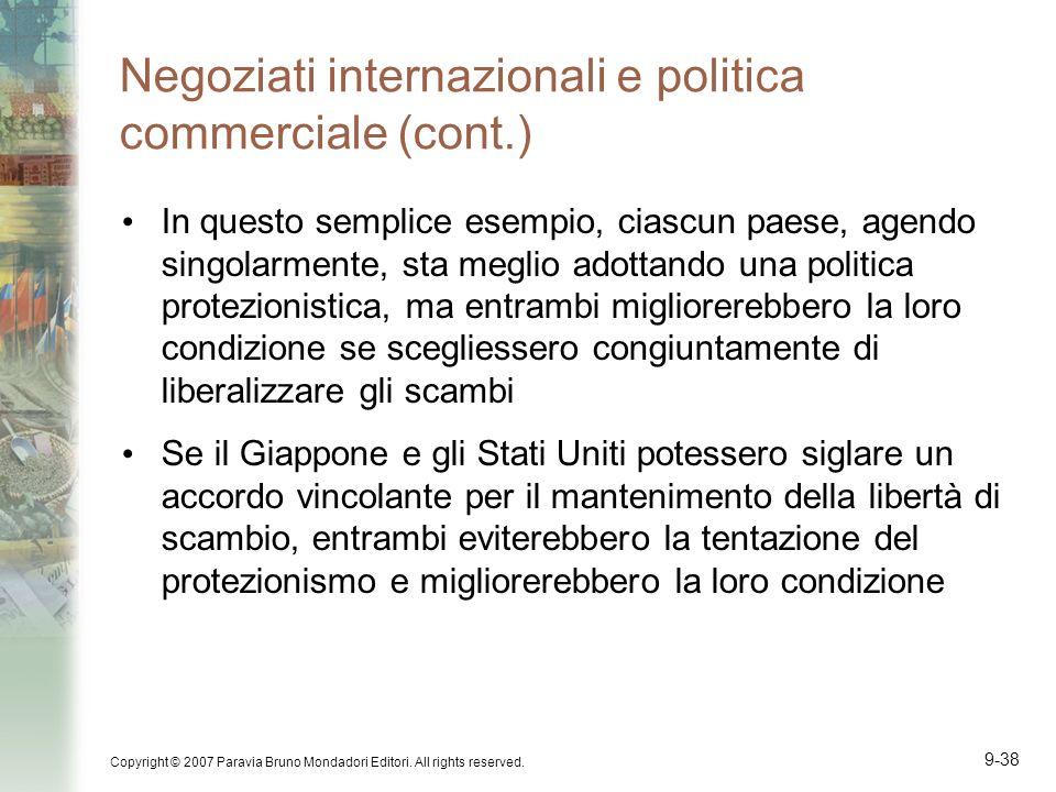 Copyright © 2007 Paravia Bruno Mondadori Editori. All rights reserved. 9-38 Negoziati internazionali e politica commerciale (cont.) In questo semplice