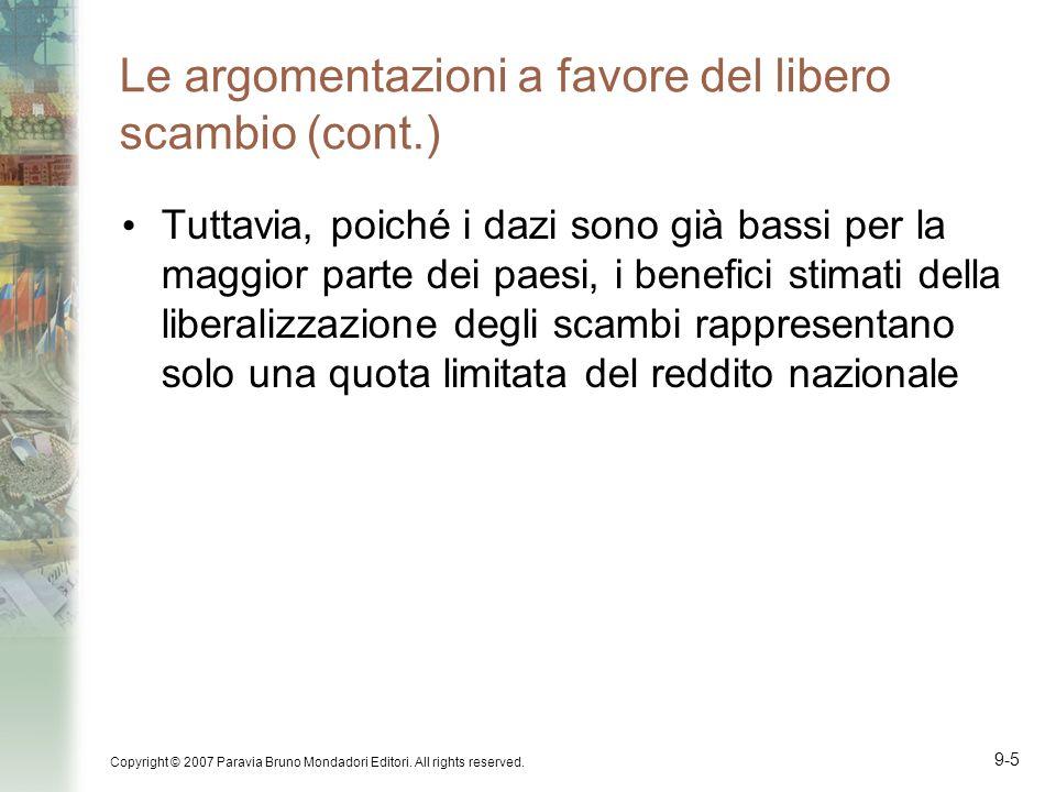 Copyright © 2007 Paravia Bruno Mondadori Editori. All rights reserved. 9-5 Le argomentazioni a favore del libero scambio (cont.) Tuttavia, poiché i da