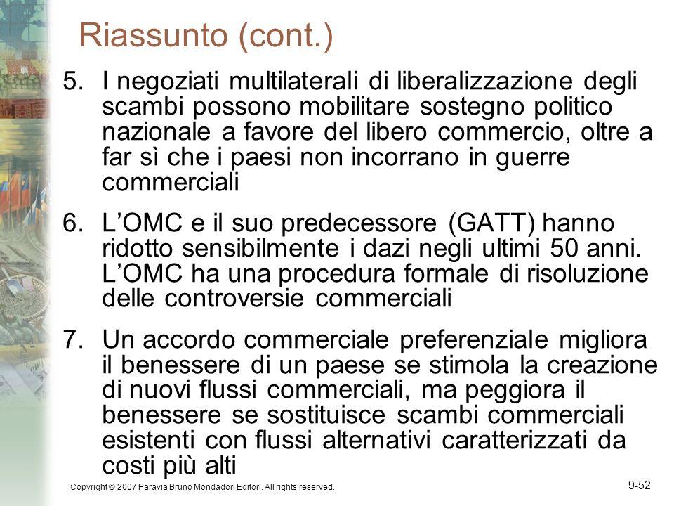 Copyright © 2007 Paravia Bruno Mondadori Editori. All rights reserved. 9-52 Riassunto (cont.) 5.I negoziati multilaterali di liberalizzazione degli sc