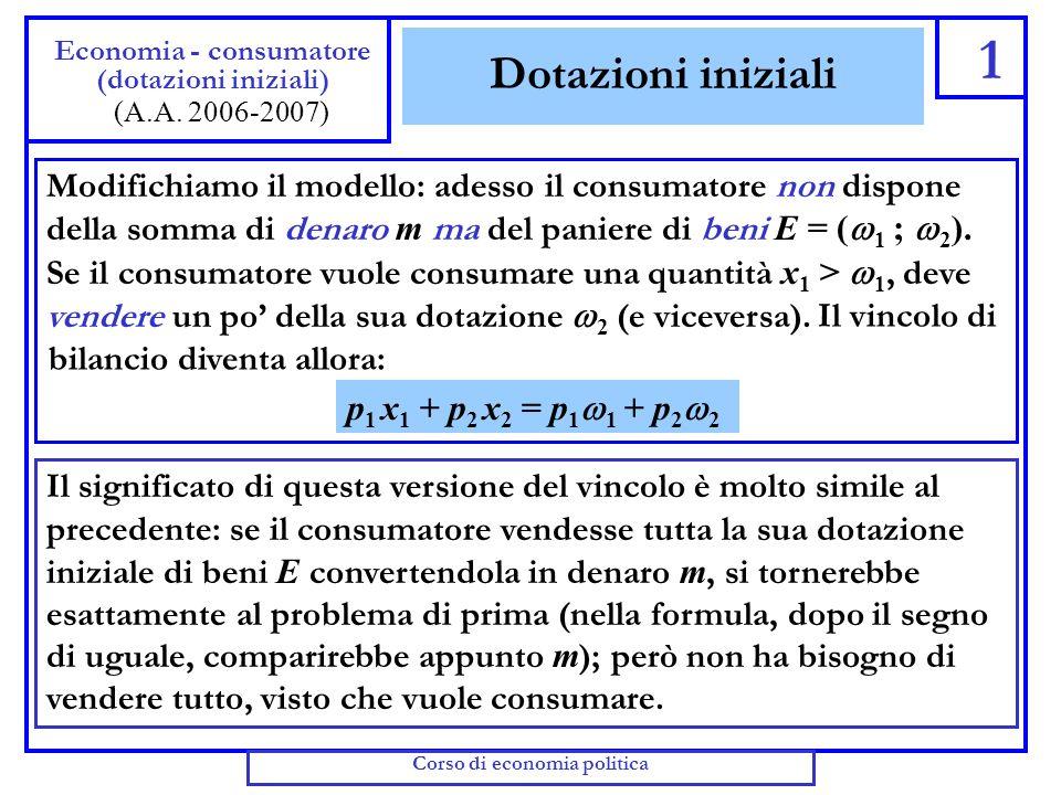 Dotazioni di consumo e di tempo Dal vincolo di tempo R = L L possiamo ricavare L = L R (ossia, il lavoro offerto è la differenza tra tempo disponibile e tempo libero) Sostituendo nel vincolo di bilancio, otteniamo Quante unità del bene si possono comprare con la somma M .