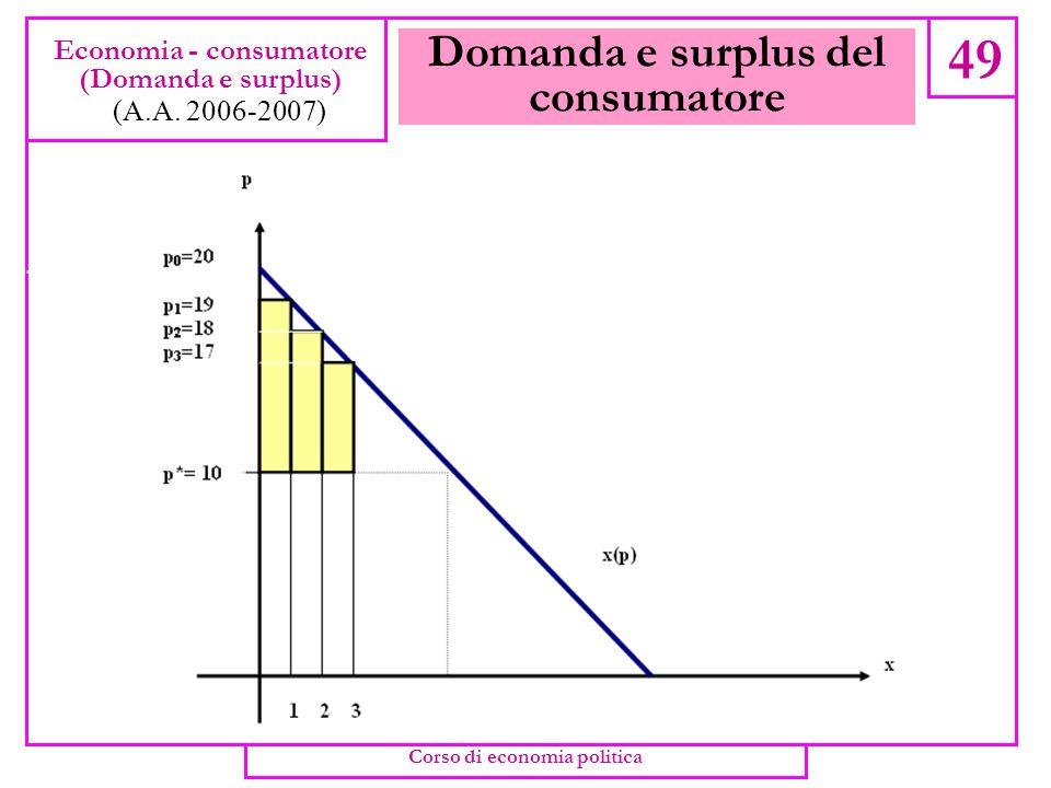 Domanda e surplus del consumatore 48 Economia - consumatore (Domanda e surplus) (A.A. 2006-2007) Corso di economia politica
