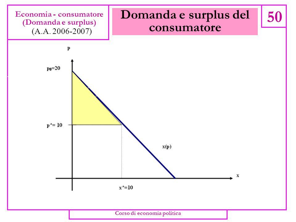 Domanda e surplus del consumatore 49 Economia - consumatore (Domanda e surplus) (A.A. 2006-2007) Corso di economia politica