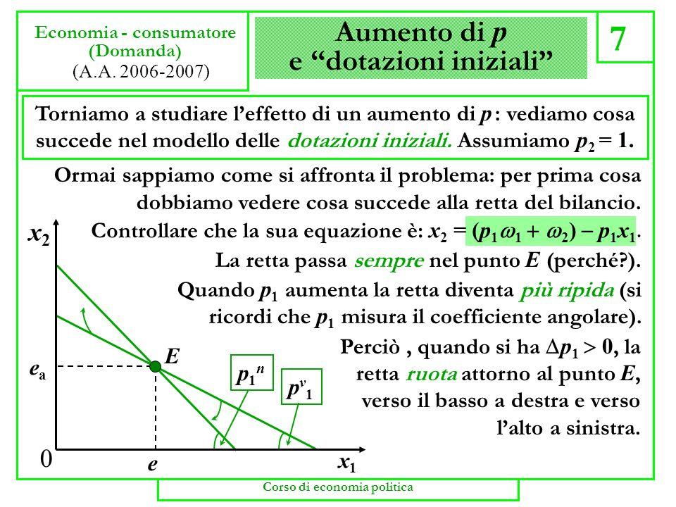La scelta (calcolo) 6 Economia - consumatore (dotazioni iniziali) (A.A. 2006-2007) Il consumatore non dispone di soldi ma di beni. Perciò vende (offre