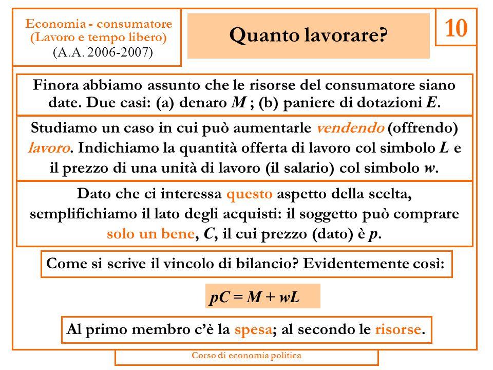 La scelta tra consumo e risparmio 40 Economia - consumatore (Consumo e risparmio) (A.A.