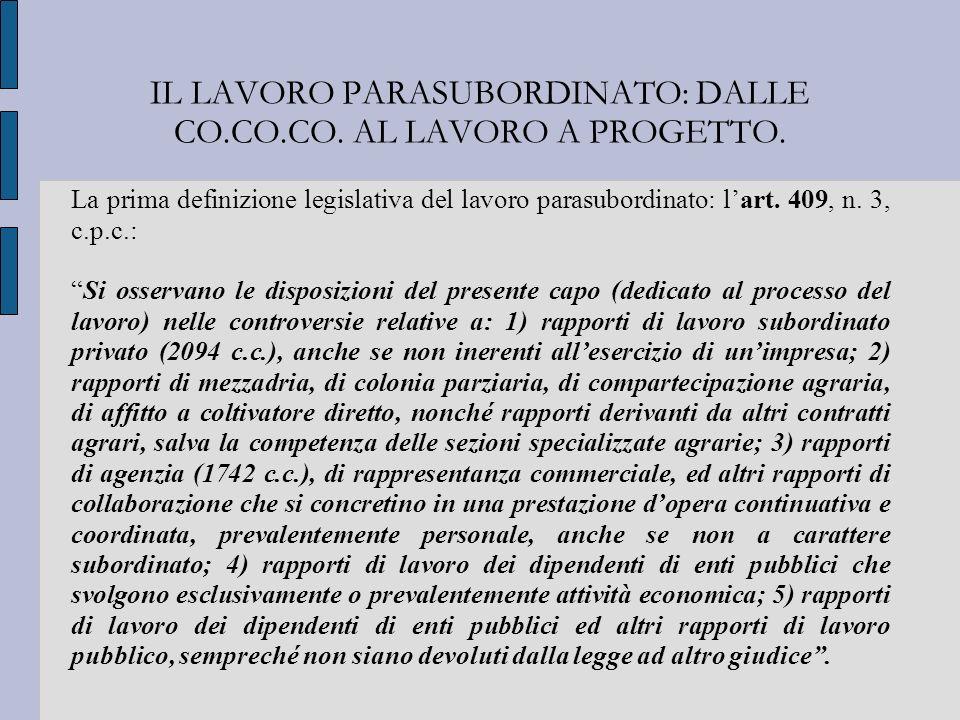 IL LAVORO PARASUBORDINATO: DALLE CO.CO.CO. AL LAVORO A PROGETTO. La prima definizione legislativa del lavoro parasubordinato: lart. 409, n. 3, c.p.c.: