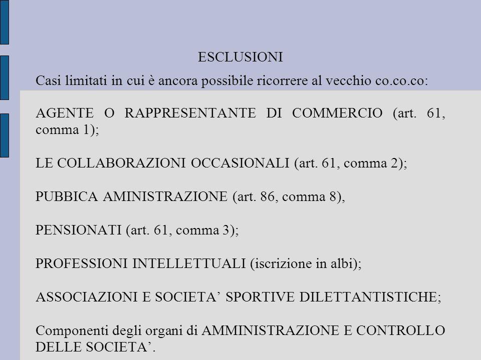 ESCLUSIONI Casi limitati in cui è ancora possibile ricorrere al vecchio co.co.co: AGENTE O RAPPRESENTANTE DI COMMERCIO (art. 61, comma 1); LE COLLABOR