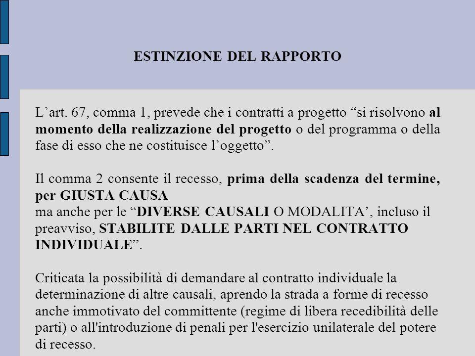ESTINZIONE DEL RAPPORTO Lart. 67, comma 1, prevede che i contratti a progetto si risolvono al momento della realizzazione del progetto o del programma