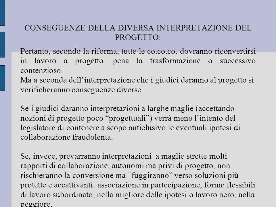 CONSEGUENZE DELLA DIVERSA INTERPRETAZIONE DEL PROGETTO: Pertanto, secondo la riforma, tutte le co.co.co. dovranno riconvertirsi in lavoro a progetto,
