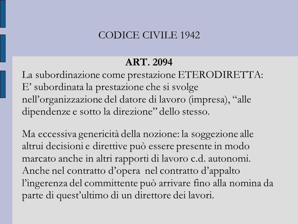 CODICE CIVILE 1942 ART. 2094 La subordinazione come prestazione ETERODIRETTA: E subordinata la prestazione che si svolge nellorganizzazione del datore