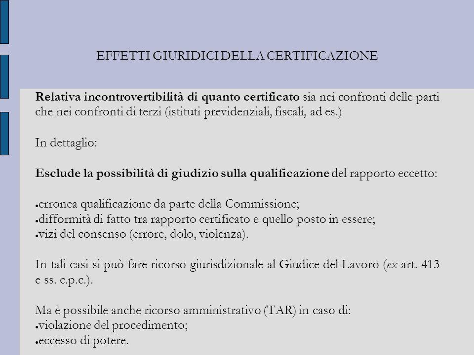 EFFETTI GIURIDICI DELLA CERTIFICAZIONE Relativa incontrovertibilità di quanto certificato sia nei confronti delle parti che nei confronti di terzi (is