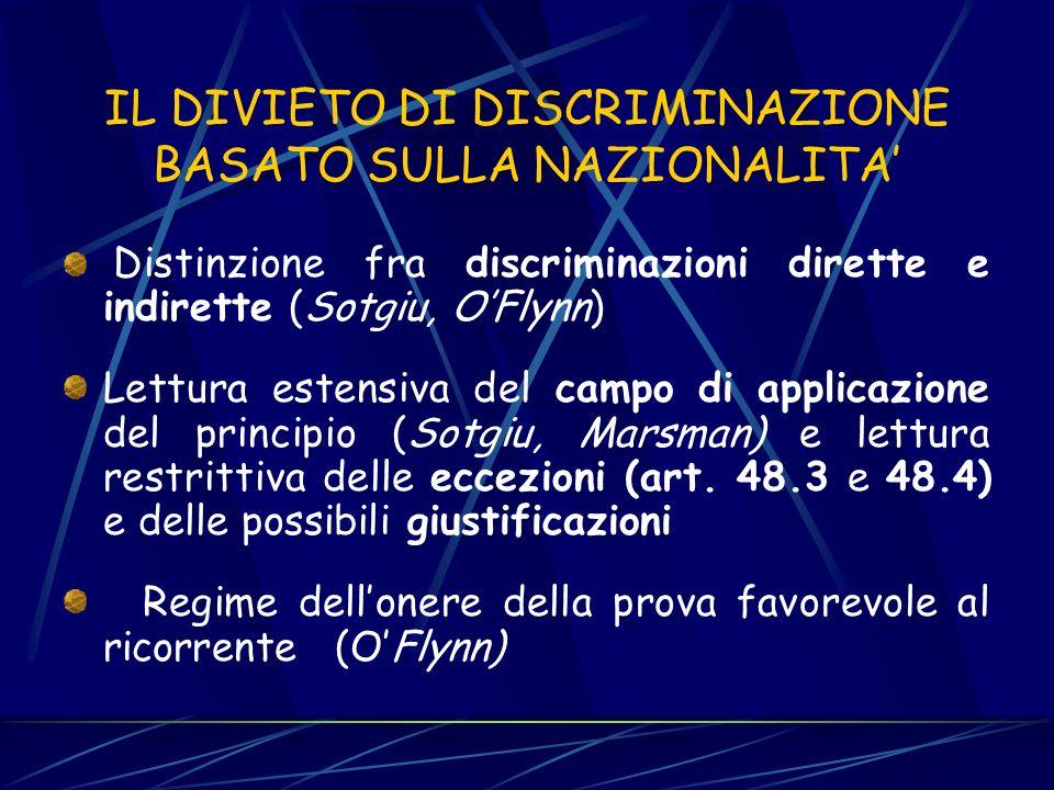 IL DIVIETO DI DISCRIMINAZIONI BASATE SULLA NAZIONALITA Mentre il diritto derivato (direttive e regolamenti) ha specificato il contenuto del principio