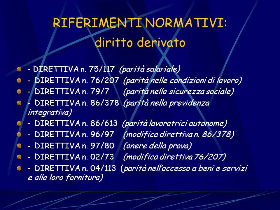 RIFERIMENTI NORMATIVI: diritto originario TRATTATO CE : artt. 2, 3.2 (fini e principi generali) art. 13 (divieti di discriminazione) art. 137 (compete