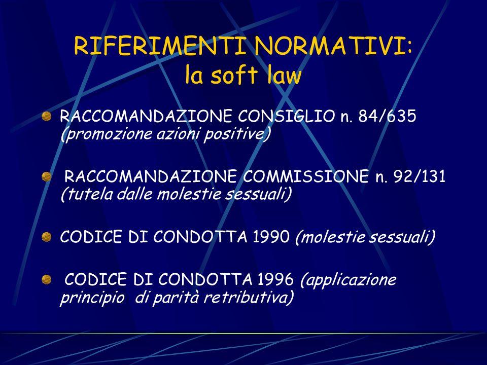 RIFERIMENTI NORMATIVI: diritto derivato - DIRETTIVA n. 75/117 (parità salariale) - DIRETTIVA n. 76/207 (parità nelle condizioni di lavoro) - DIRETTIVA