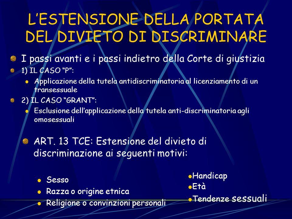 RIFERIMENTI NORMATIVI: la soft law RACCOMANDAZIONE CONSIGLIO n. 84/635 (promozione azioni positive) RACCOMANDAZIONE COMMISSIONE n. 92/131 (tutela dall