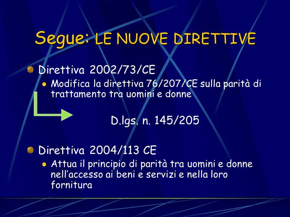 LE NUOVE DIRETTIVE Direttiva 2000/43/CE Parità di trattamento tra le persone indipendentemente dalla RAZZA e dallORIGINE ETNICA D. Lgs. n. 216/2003 D.
