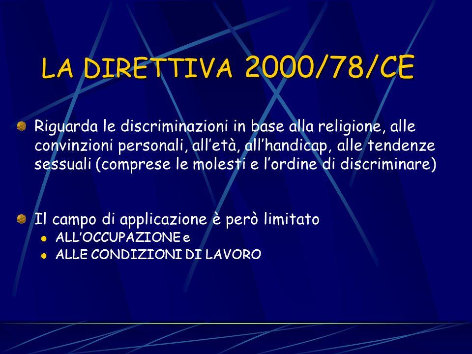 LA DIRETTIVA 2000/43 Riguarda le discriminazioni in base alla razza e allorigine etnica (comprese le molestie e lordine di discriminare) Ha un campo d