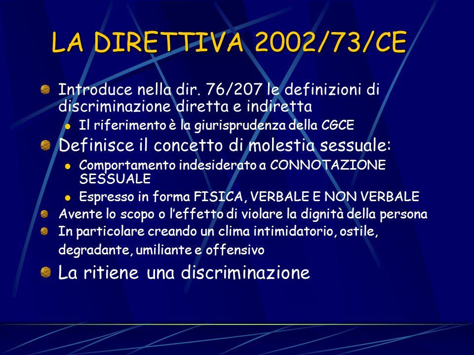 LA DIRETTIVA 2000/78/CE Riguarda le discriminazioni in base alla religione, alle convinzioni personali, alletà, allhandicap, alle tendenze sessuali (c