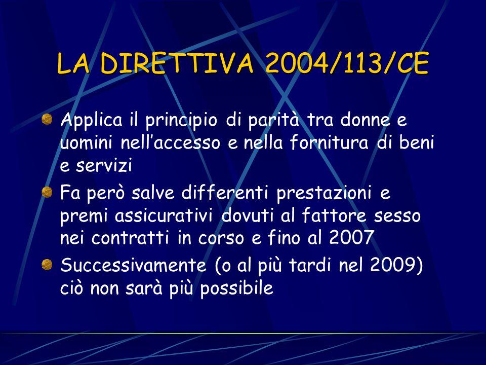 LA DIRETTIVA 2002/73/CE Introduce nella dir. 76/207 le definizioni di discriminazione diretta e indiretta Il riferimento è la giurisprudenza della CGC